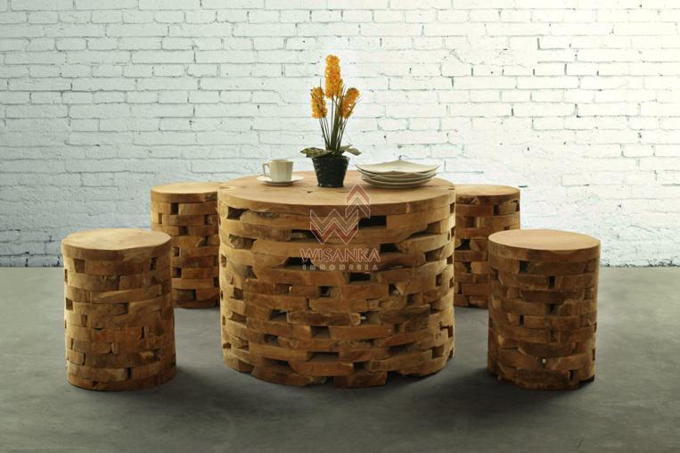 Round Brick Reclaimed Living Set Indonesia Reclaimed Teak Teak