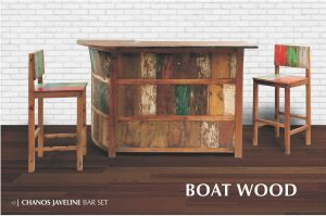 chanos javeline boat wood bar set