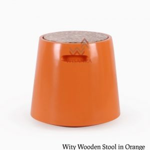 Wity Wooden Stool in Orange Colour