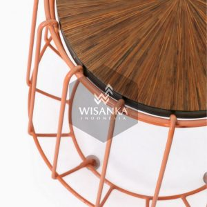 Wity wooden stool with iron legs