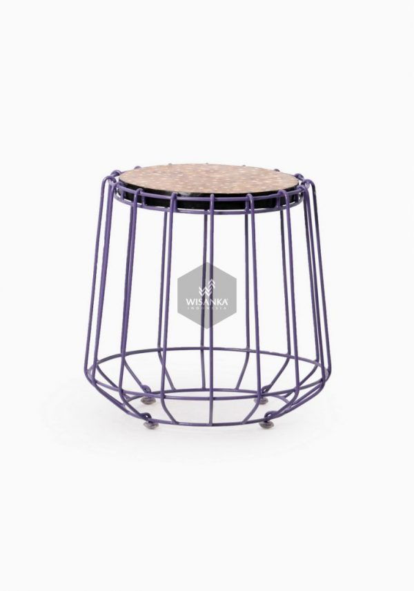 Wity Stool Wood Iron Purple