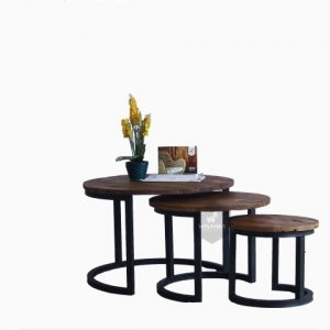 Starla wooden round nest table