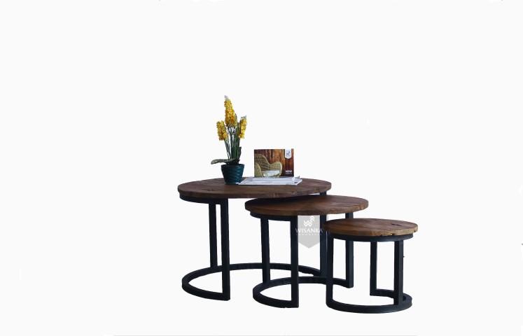 Starla wooden round nest table